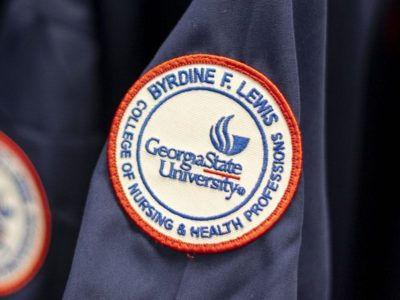 Patch with the words Byrdine F. Lewis College of Nursing and Health Professions